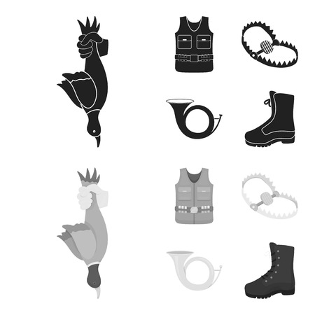 A trophy in his hand, a steel trap, a hunting vest with patronage, a horn..Hunting set collection icons in black,monochrome style vector symbol stock illustration web. Illusztráció