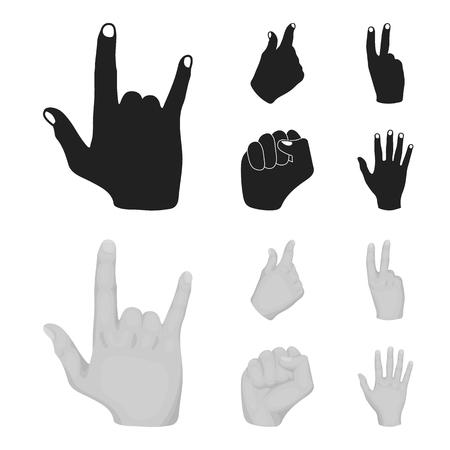 Open fist, victory, miser. Hand gesture set collection icons in black,monochrom style vector symbol stock illustration web. Ilustração