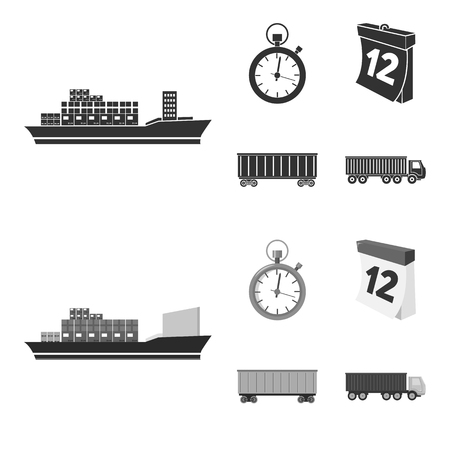 Cargo ship, stop watch, calendar, railway car.Logistic,set collection icons in black,monochrome style vector symbol stock illustration web. 向量圖像