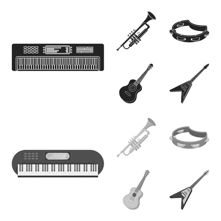 Electro organ, trumpet, tambourine, string guitar. Musical instruments set collection icons in black,monochrome style vector symbol stock illustration web.
