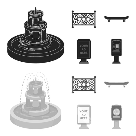 Fountain, fence, skate, billboard.Park set collection icons in black,monochrome style vector symbol stock illustration web.