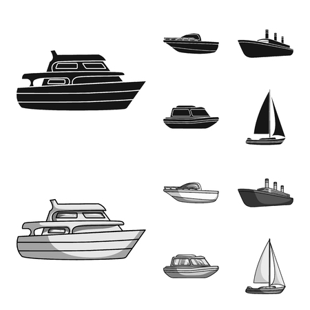 Protection boat, lifeboat, cargo steamer, sports yacht.Ships and water transport set collection icons in black,monochrom style vector symbol stock illustration web.