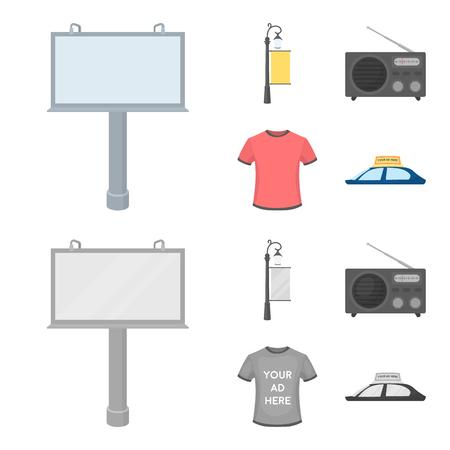 Ein Laternenpfahl mit einem Schild, ein T-Shirt mit einer Inschrift, ein Radio, ein Autodach.