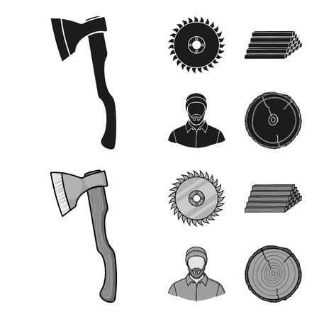 Circular saw, a working carpenter, a stack of logs. A sawmill and timber set collection icons in black,monochrom style vector symbol stock illustration web.