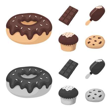 Donut with chocolate, zskimo, shokolpada tile, biscuit.Chocolate desserts set collection icons in cartoon,monochrome style vector symbol stock illustration web.