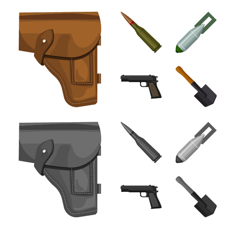 Holster, cartridge, air bomb, pistol. Military and army set collection icons in cartoon,monochrome style vector symbol stock illustration web. Ilustração