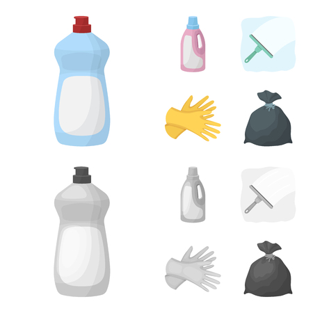 Gel for washing in a pink bottle, yellow gloves for cleaning, a brush for glass, a black bag for garbage or waste. Cleaning set collection icons in cartoon,monochrome style vector symbol stock illustration web. Stock Illustratie