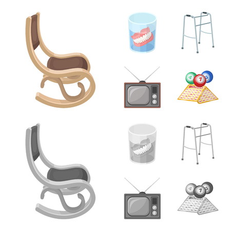 Denture, rocking chair, walker, old TV.Old age set collection icons in cartoon,monochrome style vector symbol stock illustration web.