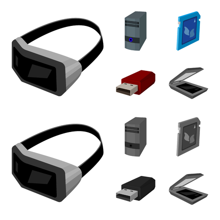 A system unit, a flash drive, a scanner and a SD card. Personal computer set collection icons in cartoon,monochrome style vector symbol stock illustration web.