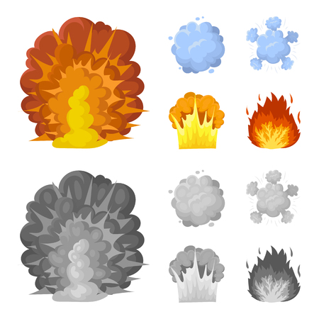 Flame, sparks, hydrogen fragments, atomic or gas explosion. Explosions set collection icons in cartoon,monochrome style vector symbol stock illustration web. Illusztráció