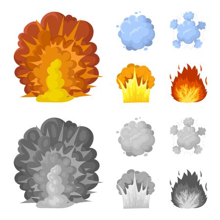 Flamme, étincelles, fragments d'hydrogène, explosion atomique ou gazeuse. Explosions définir des icônes de la collection en dessin animé, style monochrome vecteur symbole stock illustration web.