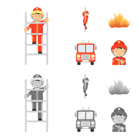 Fireman, flame, fire truck. Fire departmentset set collection icons in cartoon,monochrome style vector symbol stock illustration web. Illustration