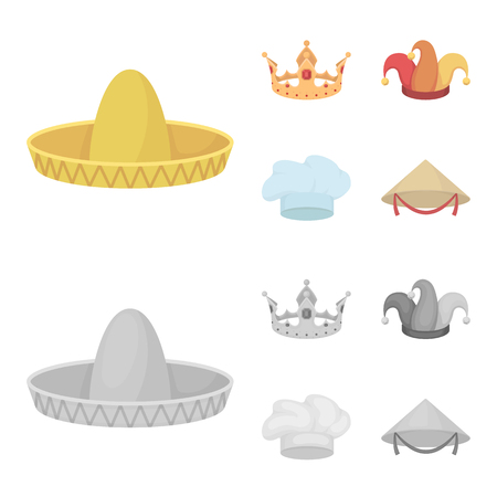 Crown, jester cap, cook, cone. Hats set collection icons in cartoon,monochrome style vector symbol stock illustration web.