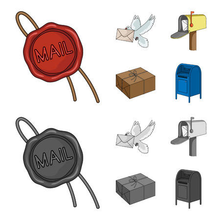 Wax seal, postal pigeon with envelope, mail box and parcel.Mail and postman set collection icons in cartoon,monochrome style vector symbol stock illustration web. Archivio Fotografico - 102100135
