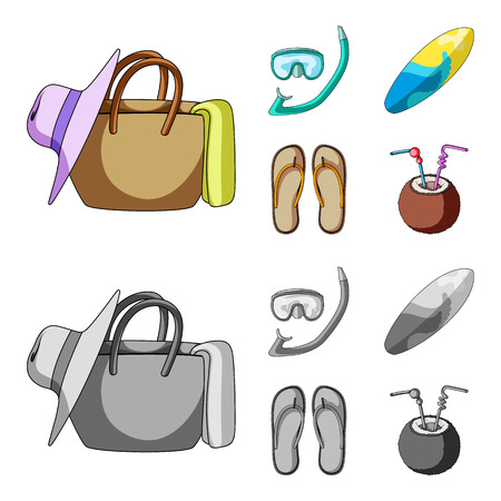 Diving, surfing, cocktail.Summer vacation set collection icons in cartoon,monochrome style vector symbol stock illustration web.