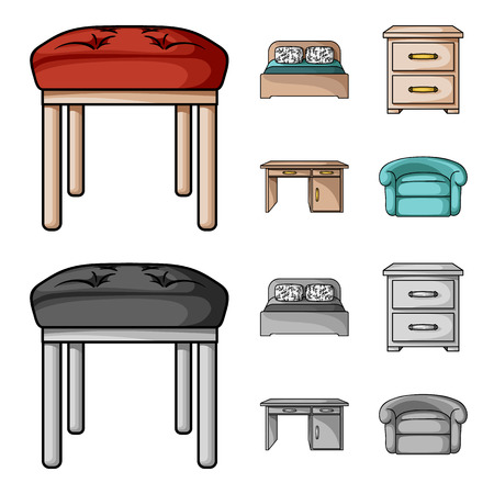 Interior, design, bed, bedroom .Furniture and home interiorset collection icons in cartoon,monochrome style vector symbol stock illustration web. Stock Illustratie