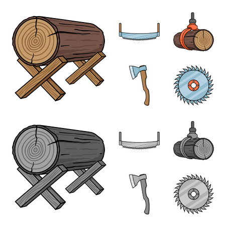 Log on supports, two-hand saw, ax, raising logs. Sawmill and timber set collection icons in cartoon,monochrome style vector symbol stock illustration web. Ilustracja
