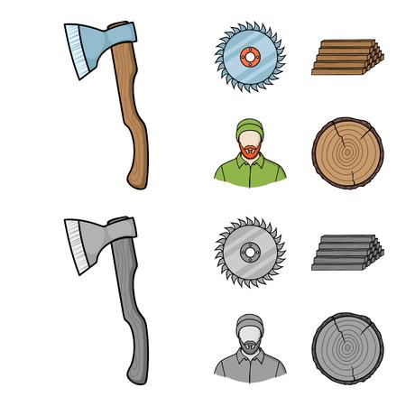 Scie circulaire, charpentier en activité, pile de grumes. Une scierie et du bois mis des icônes de collection en dessin animé, style monochrome vecteur symbole stock illustration web.