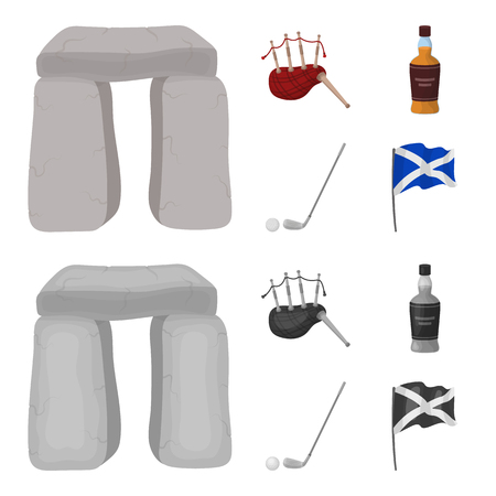 Stone monument, bagpipe, whiskey, golf. Scotland country set collection icons in cartoon,monochrome style vector symbol stock illustration web. Illustration
