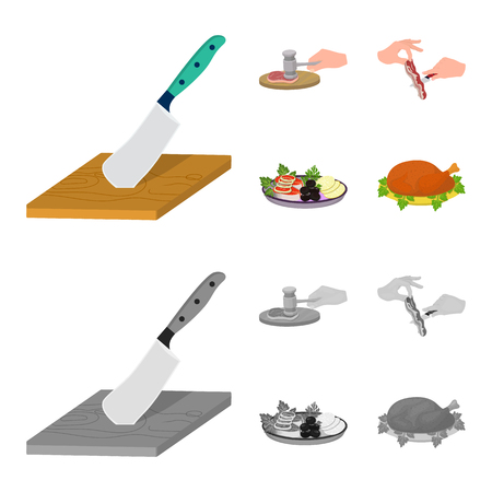 Cutlass on a cutting board, hammer for chops, cooking bacon, eating fish and vegetables. Eating and cooking set collection icons in cartoon,monochrome style vector symbol stock illustration web. Banque d'images - 102100374