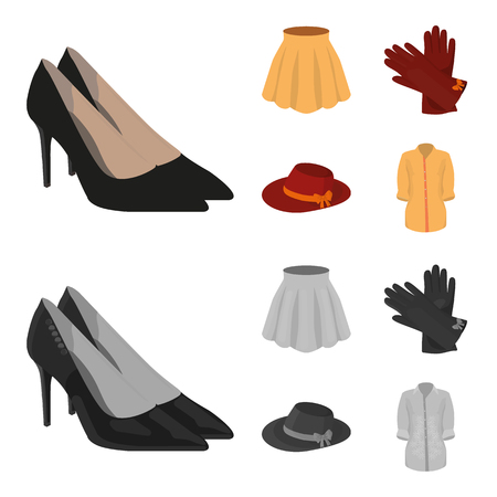 Skirt with folds, leather gloves, women hat with a bow, shirt on the fastener. Women clothing set collection icons in cartoon,monochrome style vector symbol stock illustration web.