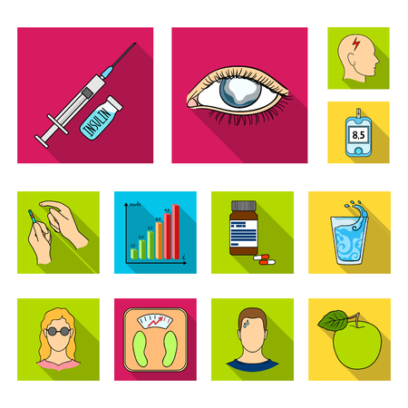 Diabetes flat icons in set collection for design. Treatment of diabetes vector symbol stock web illustration.