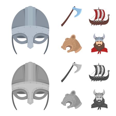 Viking helmet, battle ax, rook on oars with shields, dragon, treasure. Vikings set collection icons in cartoon,monochrome style vector symbol stock illustration web. Vettoriali