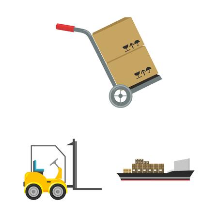 Logistieke dienst cartoon pictogrammen in set collectie voor design. Logistiek en apparatuur symbool voorraad web vectorillustratie. Vector Illustratie