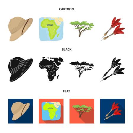 Sombrero de corcho, dardos, árbol de la sabana, mapa del territorio. Safari africano establece los iconos de la colección en la web de dibujos animados, negro, plano estilo vector símbolo stock de ilustración.