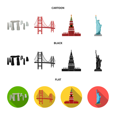 Sights of different countries cartoon,black,flat icons in set collection for design. Famous building vector symbol stock web illustration.
