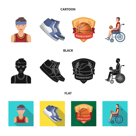 Basketball and attributes cartoon,black,flat icons in set collection for design.Basketball player and equipment vector symbol stock web illustration.