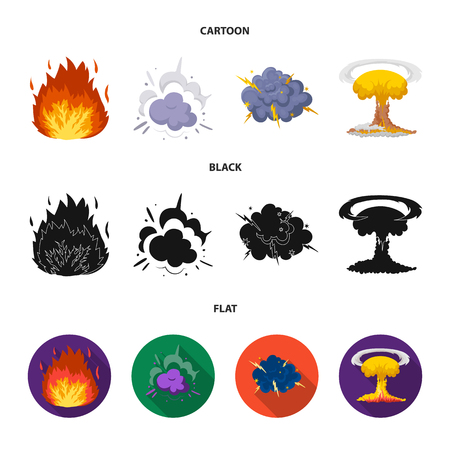Flame, sparks, hydrogen fragments, atomic or gas explosion. Explosions set collection icons in cartoon,black,flat style vector symbol stock illustration web.