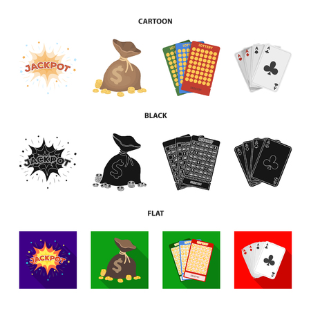 Jack sweat, a bag with money won, cards for playing Bingo, playing cards. Casino and gambling set collection icons in cartoon,black,flat style vector symbol stock illustration web.