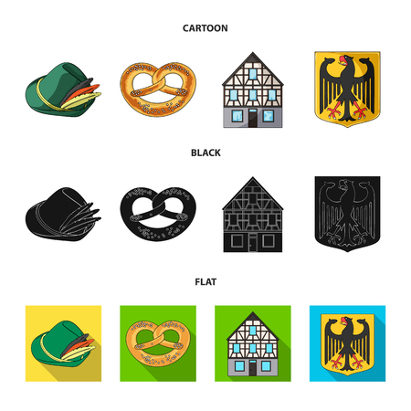 Country Germany cartoon,black,flat icons in set collection for design. Germany and landmark vector symbol stock web illustration.