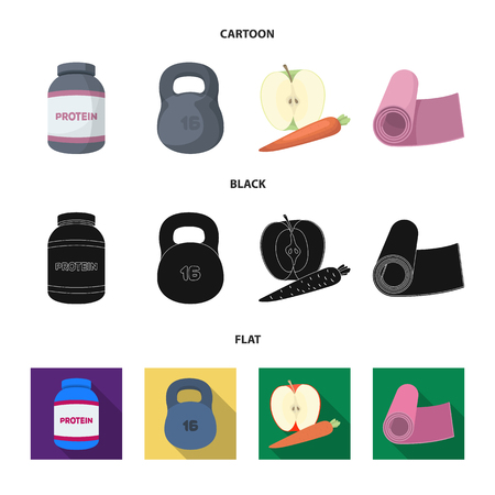 Protein, vitamins and other equipment for training.Gym and workout set collection icons in cartoon,black,flat style vector symbol stock illustration web.