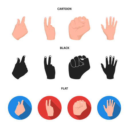 Open fist, victory, miser. Hand gesture set collection icons in cartoon,black,flat style vector symbol stock illustration web.