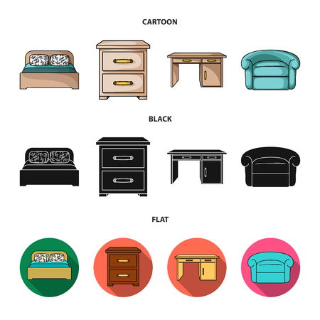 Interior, design, bed, bedroom .Furniture and home interiorset collection icons in cartoon,black,flat style vector symbol stock illustration web. Stock Illustratie