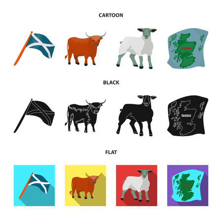 The state flag of Andreev, Scotland, the bull, the sheep, the map of Scotland. Scotland set collection icons in cartoon,black,flat style vector symbol stock illustration web.