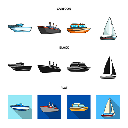 Protection boat, lifeboat, cargo steamer, sports yacht.Ships and water transport set collection icons in cartoon,black,flat style vector symbol stock illustration web.