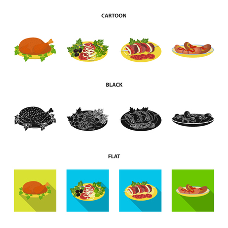 Fried chicken, vegetable salad, shish kebab with vegetables, fried sausages on a plate. Food and Cooking set collection icons in cartoon,black,flat style vector symbol stock illustration web.