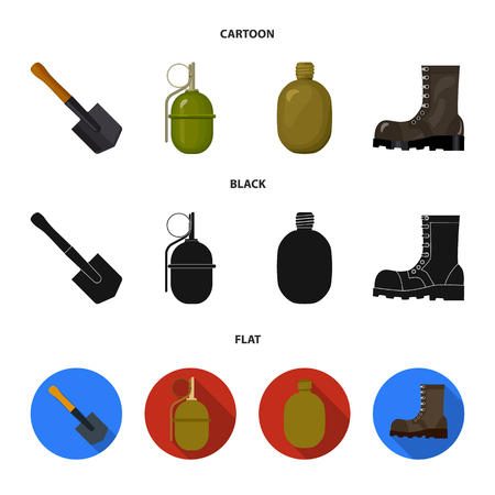 Sapper blade, hand grenade, army flask, soldier boot. Military and army set collection icons in cartoon,black,flat style vector symbol stock illustration web.