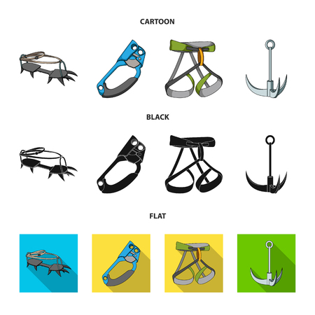 Hook, mountaineer harness, insurance and other equipment.Mountaineering set collection icons in cartoon,black,flat style vector symbol stock illustration web.