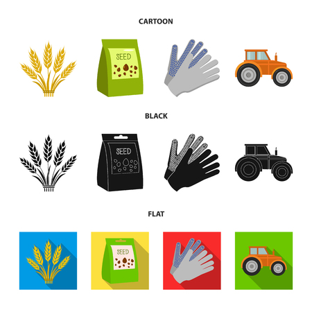 Spikelets of wheat, a packet of seeds, a tractor, gloves.Farm set collection icons in cartoon,black,flat style vector symbol stock illustration web.