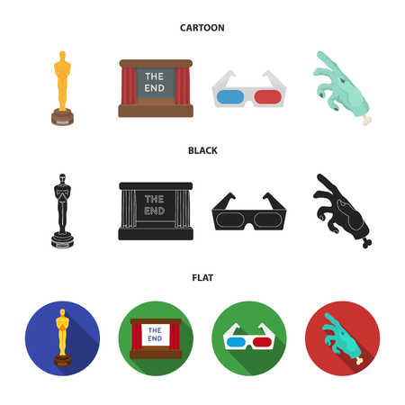 Award Oscar, movie screen, 3D glasses. Films and film set collection icons in cartoon,black,flat style vector symbol stock illustration web. Illustration