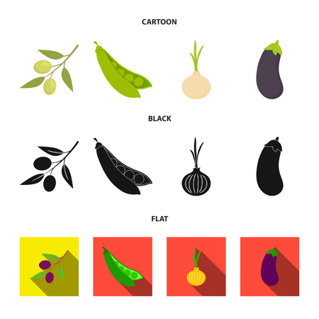 Olives on a branch, peas, onions, eggplant. Vegetables set collection icons in cartoon,black,flat style vector symbol stock illustration web. Иллюстрация