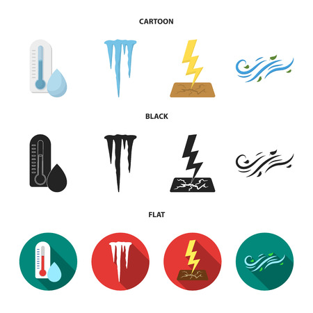 Humidity, icicles, thunderbolt, windy weather. Weather set collection icons in cartoon,black,flat style vector symbol stock illustration web. 일러스트