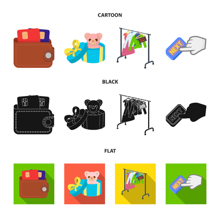 Purse with credit cards and other web icon in cartoon,black,flat style. gift sale of things, button more icons in set collection. Illustration