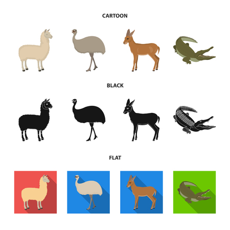 lama, ostrich emu, young antelope, animal crocodile. Wild animal, bird, reptile set collection icons in cartoon,black,flat style vector symbol stock illustration web. Illustration