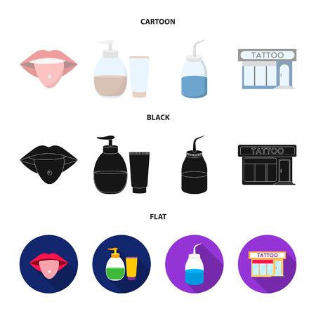Piercing dans la langue, gel, sallon. Tatouage mis icônes de la collection en dessin animé, noir, plat style vecteur symbole stock illustration web.