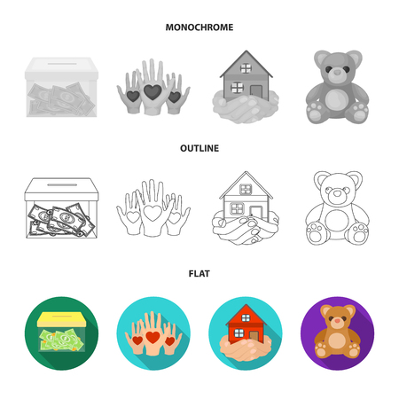 Boxing glass with donations, hands with hearts, house in hands, teddy bear for charity. Charity and donation set collection icons in flat,outline,monochrome style vector symbol stock illustration web.
